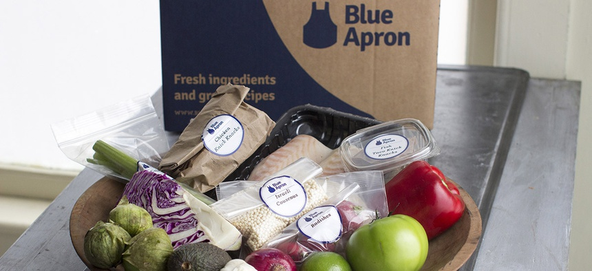 An example of a home delivered meal from Blue Apron.