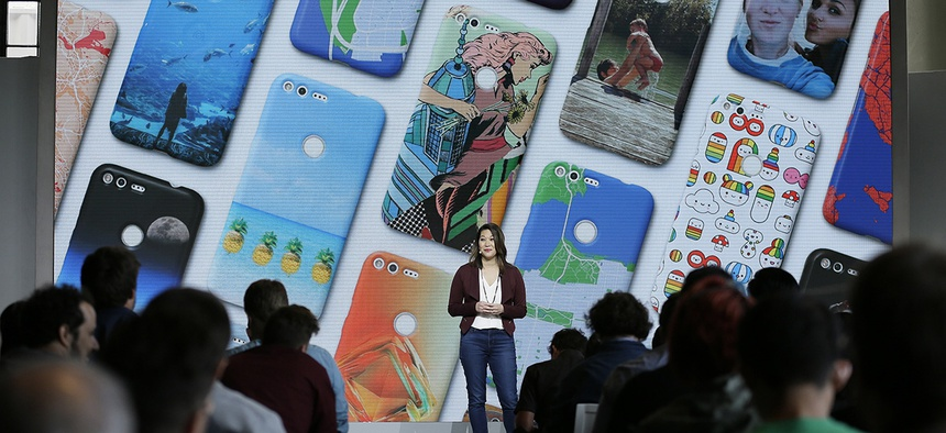 Sabrina Ellis, Google director of product management, talks about the new Google Pixel phone during a product event, Tuesday, Oct. 4, 2016.