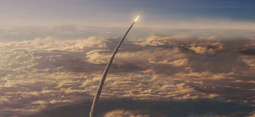 An artist concept of the Space Launch System (SLS), the project Elaine Duncan works on, in flight. According to NASA, the SLS will be the most powerful rocket ever built for deep space missions, including to an asteroid and ultimately to Mars.