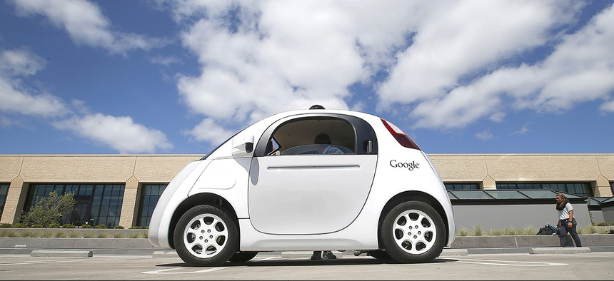 Google's new self-driving prototype car is introduced at the Google campus in Mountain View, Calif.