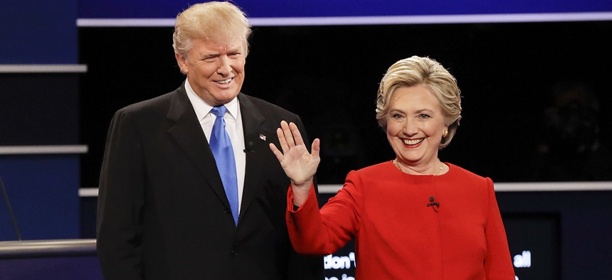 Republican presidential nominee Donald Trump and Democratic presidential nominee Hillary Clinton are introduced during the presidential debate at Hofstra University in Hempstead, N.Y., Monday, Sept. 26, 2016.