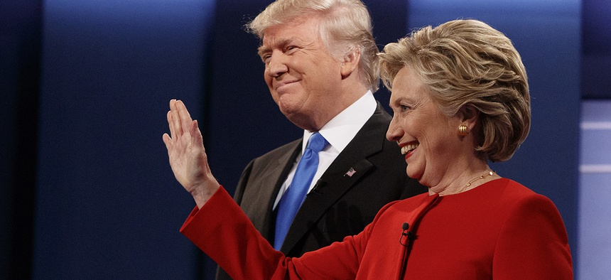 Republican presidential candidate Donald Trump, left, stands with Democratic presidential candidate Hillary Clinton before the first presidential debate.