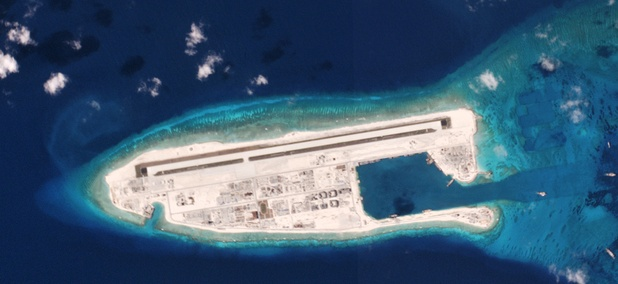 A satellite image of a Chinese military installation on Fiery Cross reef in the South Pacific on 5/1/16.
