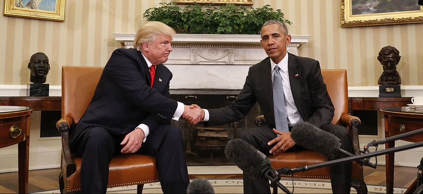 President Barack Obama and President-elect Donald Trump shake hands following their meeting in the Oval Office.