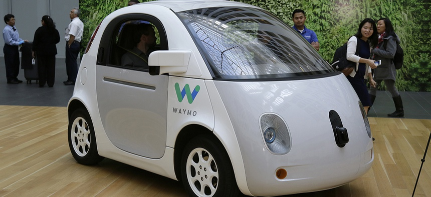 The Waymo driverless car is displayed during a Google event Tuesday, Dec. 13, 2016, in San Francisco.