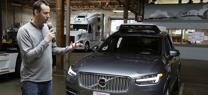 Anthony Levandowski, head of Uber's self-driving program, speaks about their driverless car in San Francisco.