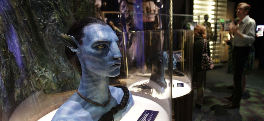 "A figure of Jake Sully's avatar character from the movie ""Avatar,"" is shown on display at the Experience Music Project in Seattle in 2011."