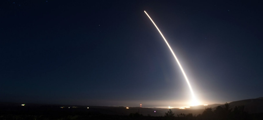 An unarmed Minuteman III intercontinental ballistic missile launches during an operational test Feb. 20.