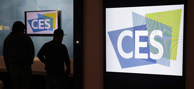 Workers prepare a booth during setup for CES International, Tuesday, Jan. 3, 2017, in Las Vegas.