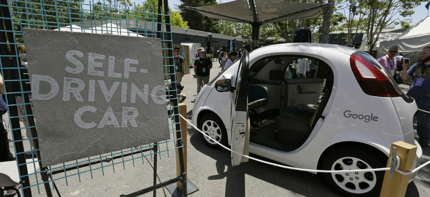 A Google self-driving car is seen on display at Google's I/O conference in Mountain View, Calif.