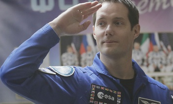 French astronaut Thomas Pesquet, member of the main crew to the International Space Station, gestures after a news conference in Russian leased Baikonur cosmodrome, Kazakhstan