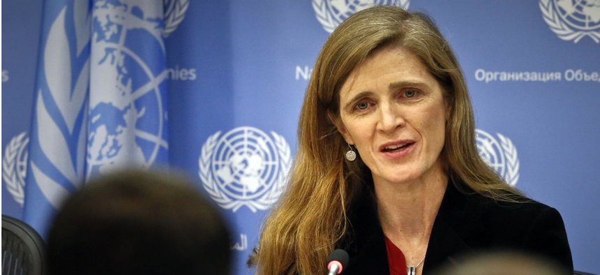United States U.N. Ambassador Samantha Power speaks during her final press conference, Friday, Jan. 13, 2017 at U.N. headquarters.