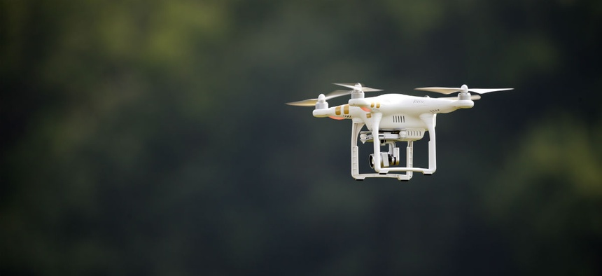 A DJI Phantom 3 drone is flown during a drone demonstration.