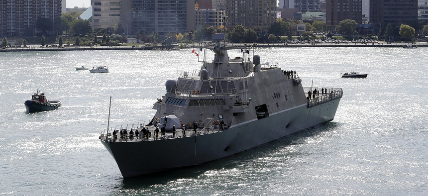 The USS Detroit, one of the United States Navy's newest warships, arrives Friday, Oct. 14, 2016, in Detroit.
