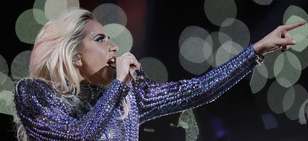 Super Bowl halftime performer Lady GaGa flew along with the drones.