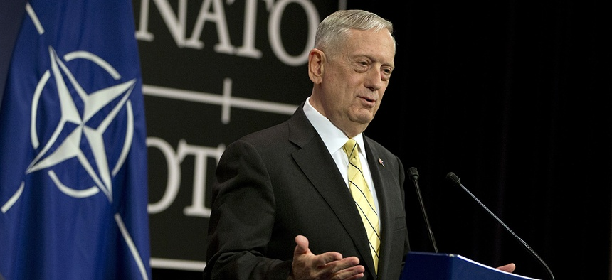 U.S. Secretary of Defense Jim Mattis speaks during a media conference at NATO headquarters in Brussels on Thursday, Feb. 16, 2017.