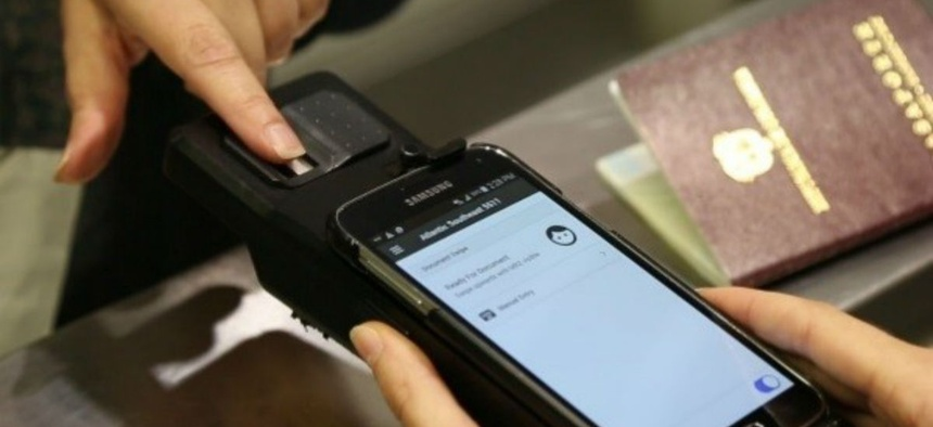 CBP field-tests a handheld mobile device.
