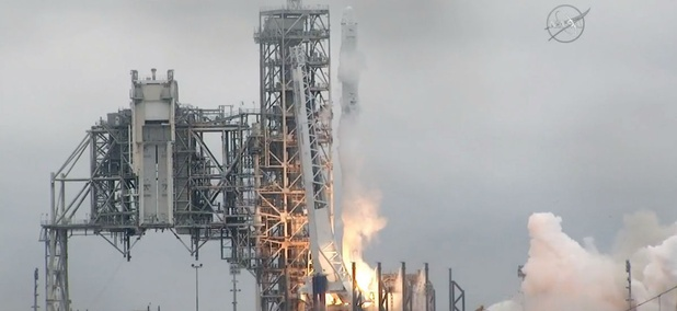 The SpaceX Falcon rocket launches from the Kennedy Space Center in Florida on Feb. 19.