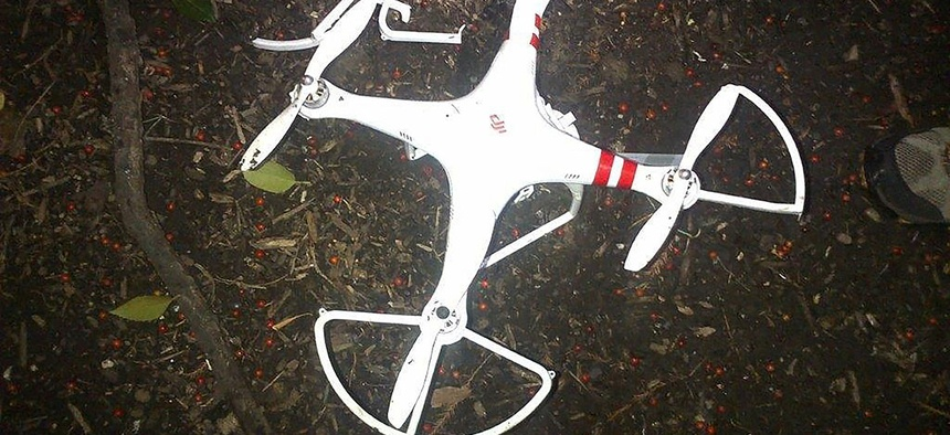 This handout photo provided by the US Secret Service shows the drone that crashed onto the White House grounds in Washington, Monday, Jan. 26, 2015.