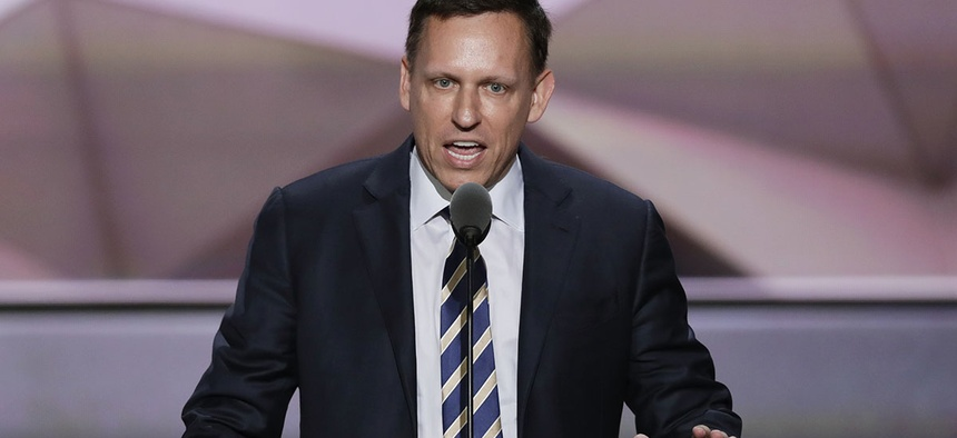 Entrepreneur Peter Thiel speaks during the final day of the Republican National Convention in Cleveland, Thursday, July 21, 2016.