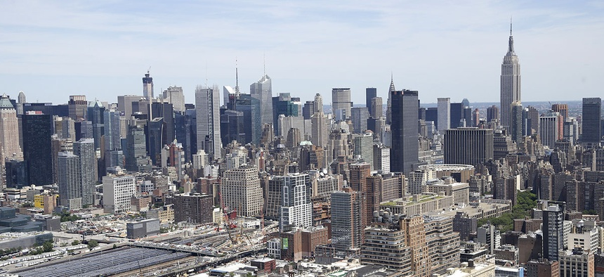 An ariel view of the skyline of Manhattan in New York.