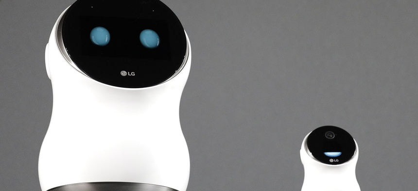 The LG Hub Robot & Mini are unveiled during an LG news conference before CES International, Wednesday, Jan. 4, 2017, in Las Vegas.