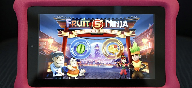 An Amazon Fire kids' edition tablet