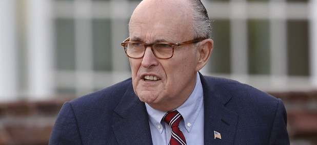 Former New York Mayor Rudy Giuliani arrives at the Trump National Golf Club Bedminster clubhouse, Sunday, Nov. 20, 2016.