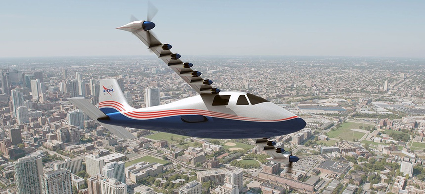 An artist's rendering of the X-57 electric aircraft.
