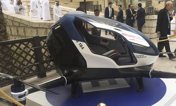 A model of EHang 184 and the next generation of Dubai Drone Taxi is seen during the second day of the World Government Summit in Dubai, United Arab Emirates, Monday, Feb. 13, 2017.