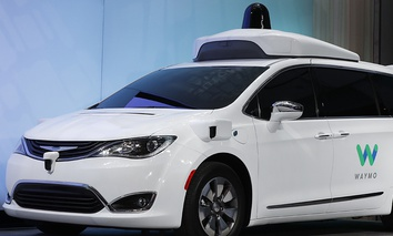 A Chrysler Pacifica hybrid outfitted with Waymo's suite of sensors and radar is shown at the North American International Auto Show in Detroit, Sunday, Jan. 8, 2017.