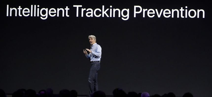 Craig Federighi, Apple's senior vice president of software engineering, speaks during an announcement of new products at the Apple Worldwide Developers Conference in San Jose, Calif., Monday, June 5, 2017.