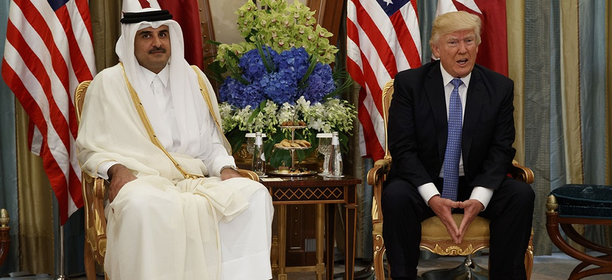 U.S. President Donald Trump, right, holds a bilateral meeting with Qatar's Emir Sheikh Tamim Bin Hamad Al-Thani, in Riyadh, Saudi Arabia.
