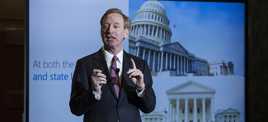 Microsoft President and Chief Legal Officer Brad Smith speaks in Washington, Tuesday, July 11, 2017, about Microsoft's project to bring broadband internet access to rural parts of the U.S.