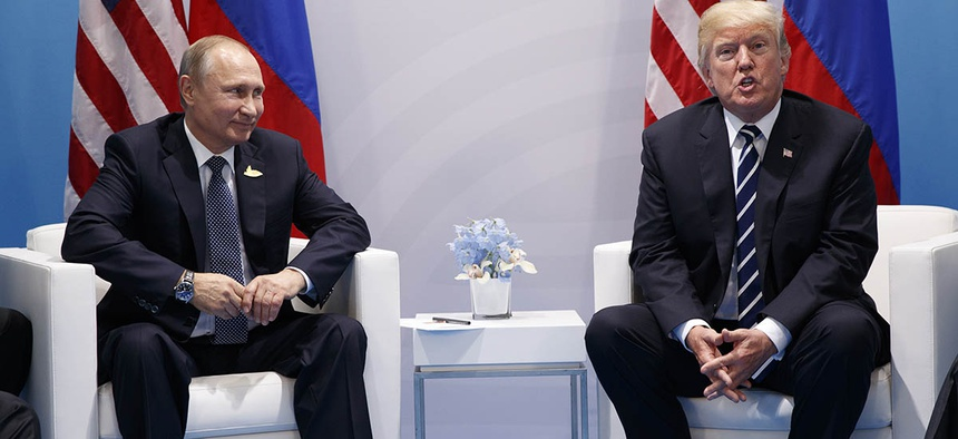 President Donald Trump speaks during a meeting with Russian President Vladimir Putin at the G20 Summit, Friday, July 7, 2017.