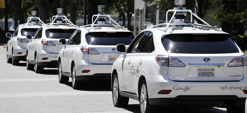 A row of Google self-driving Lexus cars in Mountain View, California.