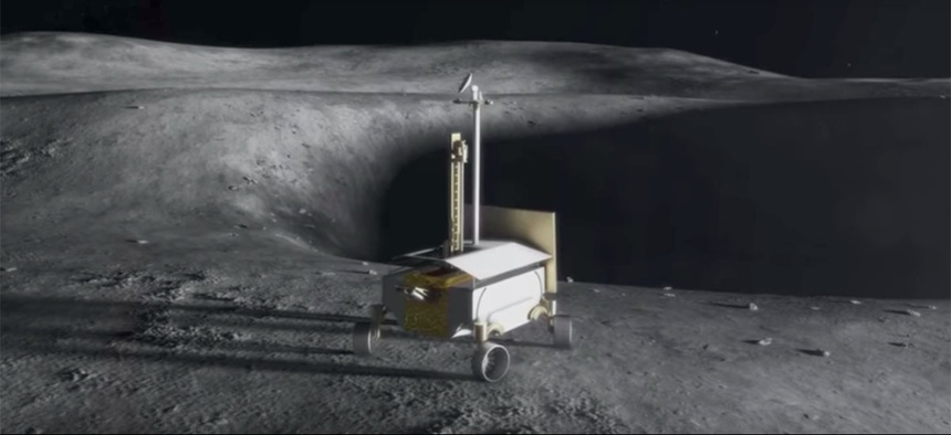 A computer simulation of the planned lunar rover.