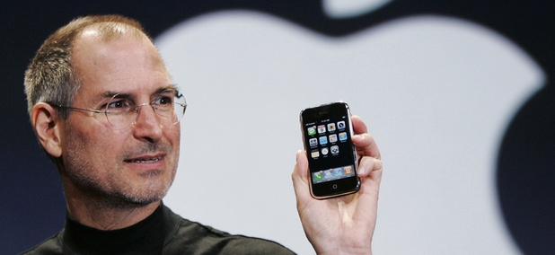 Apple CEO Steve Jobs holds up an Apple iPhone at the MacWorld Conference in San Francisco, in this Jan. 9, 2007.