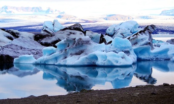 Melting icebergs in the Jökulsárlón lagoon in Iceland, summer.