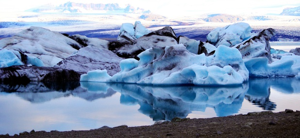 Melting icebergs in the Jökulsárlón lagoon in Iceland, summer.
