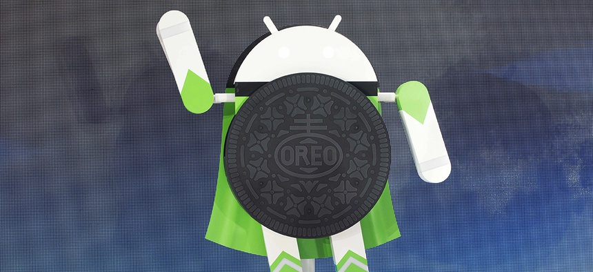 A sculpture of the Android 8.0 Oreo operating system is unveiled Monday, Aug. 21, 2017, in New York.