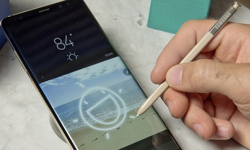 A Samsung Galaxy Note 8 and accompanying stylus on display, in New York.