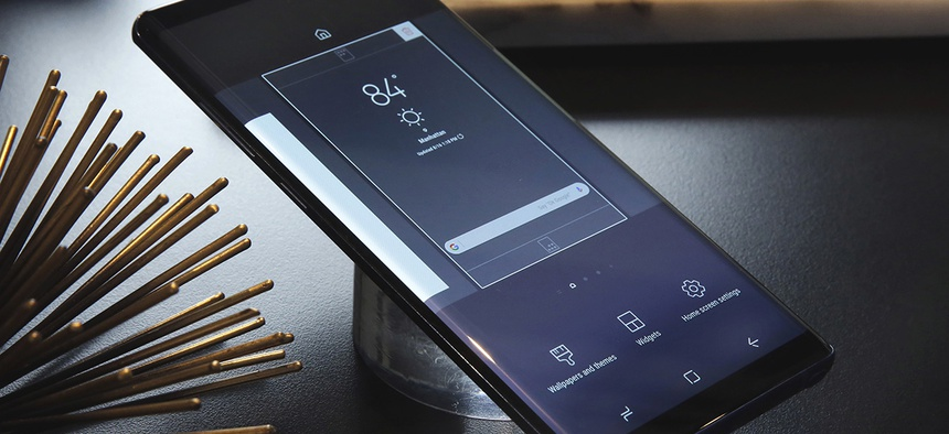 A Samsung Galaxy Note 8 on display, in New York.