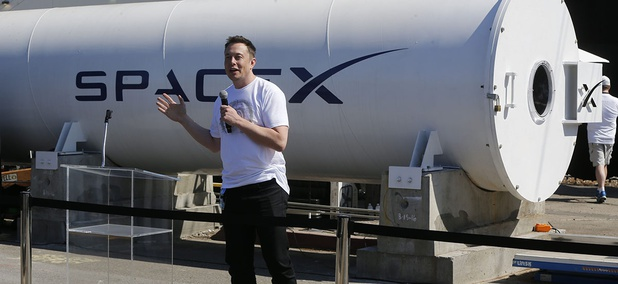 Telsa CEO Elon Musk congratulates the winners of the Hyperloop Pod Competition II at SpaceX's Hyperloop track in Hawthorne, Calif., Sunday, Aug. 27, 2017.