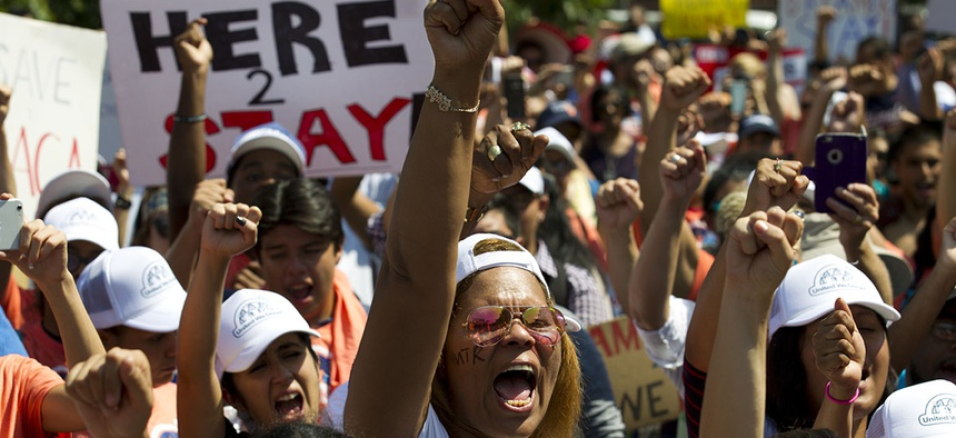Protesters chants during a rally supporting Deferred Action for Childhood Arrivals, or DACA, outside of the White House in Washington, on Tuesday, Sept. 5, 2017.