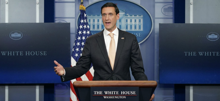 Homeland Security Adviser Tom Bossert speaks during a news briefing at the White House on Aug. 31.