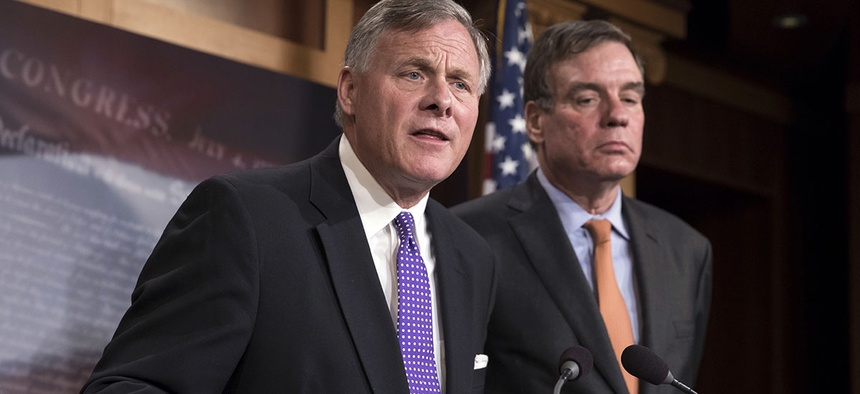 Sen. Richard Burr, R-N.C., left, with Sen. Mark Warner, D-Va.