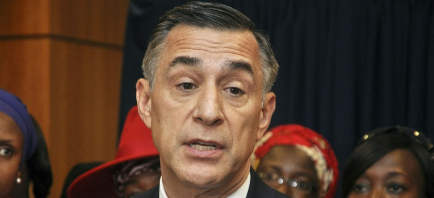 Rep. Darrell Issa, R-Calif., speaks at a news conference at the U.S embassy in Nigeria in 2015.