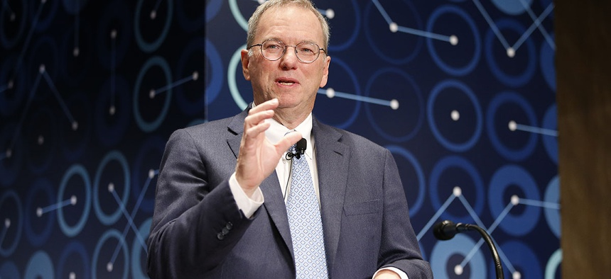 Eric Schmidt, executive chairman of Alphabet speaks during a press conference ahead of the Google DeepMind Challenge Match in Seoul, South Korea, Tuesday, March 8, 2016.