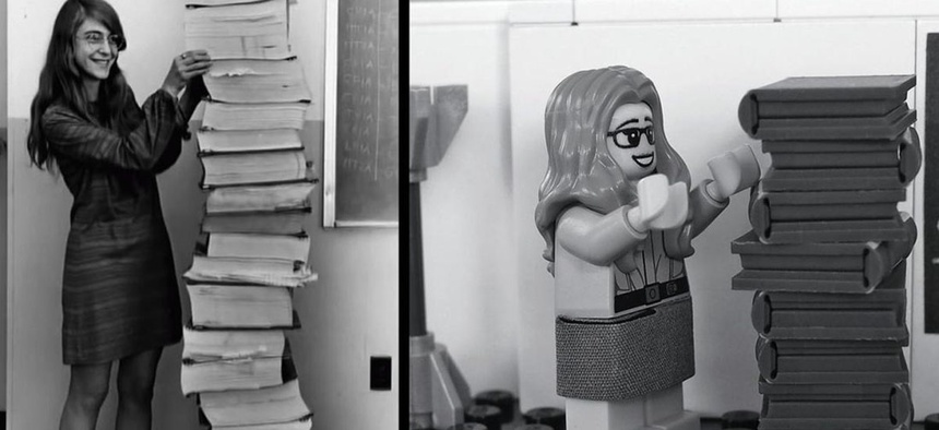 The real Hamilton next to the code she wrote for the Apollo mission (L), and Lego's interpretation of the iconic photo.